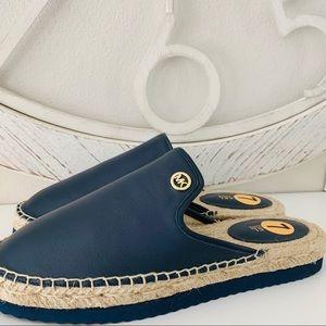 Michael Kors Emilia Slide Leather Blue Shoes